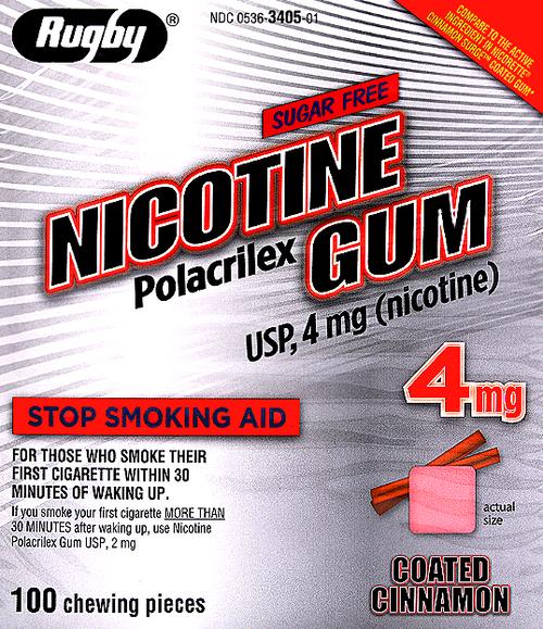 Rugby Sugar Free Nicotine Polacrilex Gum, Cinnamon Flavor 4mg