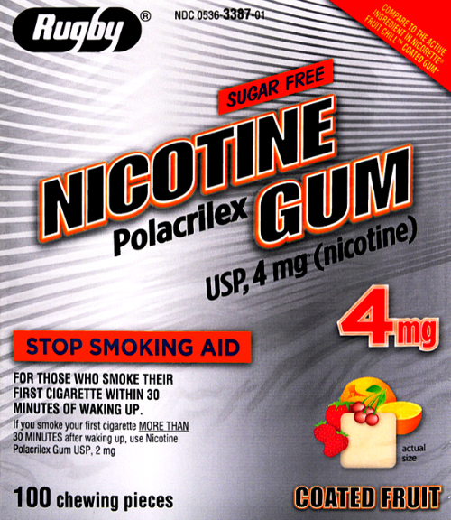 Rugby Sugar Free Nicotine 4mg Gum, Fruit Flavor- 100 Pieces