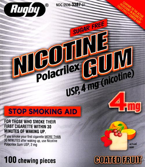 Rugby Sugar Free Nicotine 4 mg Gum Fruit Flavor- 100 Pieces