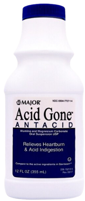 Major Acid Gone Antacid Bottle