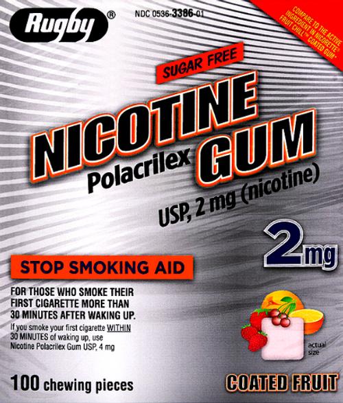 Rugby Sugar Free Nicotine 2mg Polacrilex Gum, Fruit Flavor- 100 Pieces