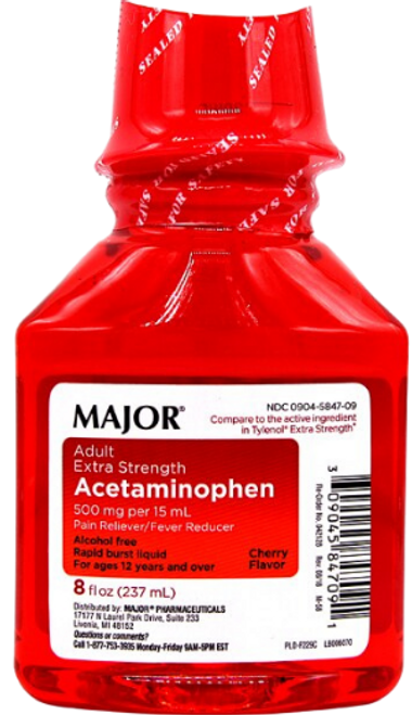 Major Adult Extra Strength Acetaminophen (Tylenol)- Cherry Flavor