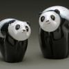 all glass panda Bear animal sculptures