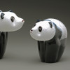 Glass Panda Bear Cub, hand-sculpted, all glass  & made in Vermont