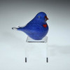 pastel blue lovebird, with torchwork heart, eyes and beak, glass bird sculpture