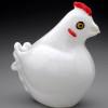 """Glass Chicken, """"French Hen"""", all white bird sculpture."""