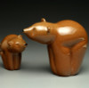 """Glass Bear animal sculpture, kodiak brown grizzly bear cub, 3"""" on left looking at Mom/Dad (on right 4-5"""")"""