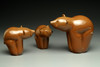 """Glass Bear animal sculpture, kodiak brown grizzly bear cubs, 3"""" on left looking at Mom/Dad (on right 4-5"""")"""