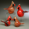 """small hand sculpted glass Cardinal, small female.  2"""" +-"""