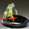 """hand made glass """"Costa Rica"""" Frog on """"Starry Nights"""" pedestal ground. 3-4"""""""