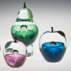 Small Veiled Apple, art glass fruit paperweight, made by glassblower Chris Sherwin