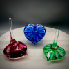 New Work -- Optic Star Heart shape Ringholders offer an elegant way to display your rings and other jewelry.  Great for the bathroom, when taking off jewelry at night, or the kitchen when handling raw meat and cooking.  Three different color options available: Sapphire Blue, Emerald Green, Ruby swirl.  Additional options upon request.
