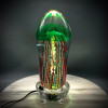 """Emerald Green transparent Bell Jellyfish sculpture, solid glass, glass paperweight, 6"""" tall, shown here on color changing LED light base (now available on SAG website).  one of a kind."""