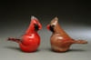 "Glass Birds, Glass Cardinals, Male/Female Adult Pair. Blown Glass bird figurines,  3"" tall x 4"" length each"