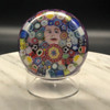 Millefiori Closepack Paperweight, glass millefiori paperweight, 26/150 signed edition, made in May 2021 by Chris Sherwin in his Bellows falls, Vermont glassblowing studio