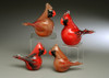 Red Male Cardinal, Large/Adult Glass bird figurine, hand sculpted solid glass bird by Vermont glass artist Chris Sherwin, 4-5""
