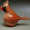Glass Cardinal, female, hand-sculpted glass bird, made by Vermont glass artisan Chris Sherwin