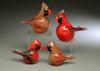 "Glass Cardinal animal sculpture, small Red Male cardinal, 2-3"""