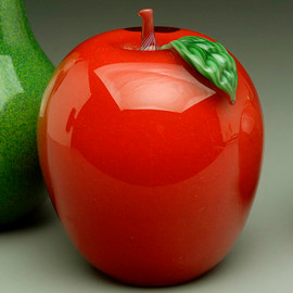 Red Glass Apple, glass fruit sculpture, solid glass paperweight, 3""
