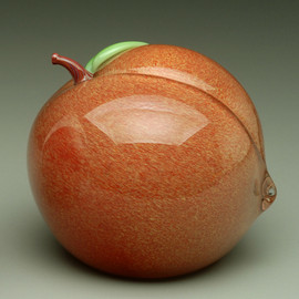 glass fruit sculpture, glass Peach paperweight, 3""