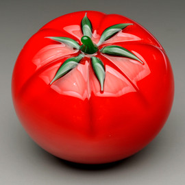 Glass Fruit sculpture, glass tomato paperweight. Vermont Summer Classic, all glass tomato, hand sculpted in Vermont glass studio ~ Sherwin Art Glass.