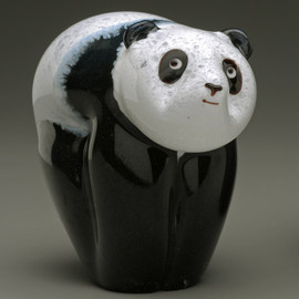 Glass Panda Bear animal sculpture, panda cub ~ 3""