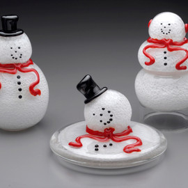 "Blown / Solid Glass Snowman sculpture, snowman paperweight, approximately 4"" tall, with black top hat, face & buttons, and red scarf"