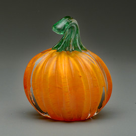 "small orange glass pumpkin, 2"", handmade vermont glass pumpkin"