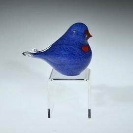 pastel blue lovebird, with torchwork heart, eyes and beak, glass bird sculpture