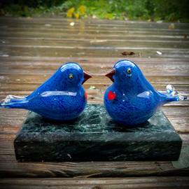 Pastel blue glass Lovebirds, glass birds, glass bird sculpture by Glass artisan Chris Sherwin at sherwin art glass studio, glassblowing, studio deck overlooking the Connecticut River after rain....Bellows Falls, Vermont