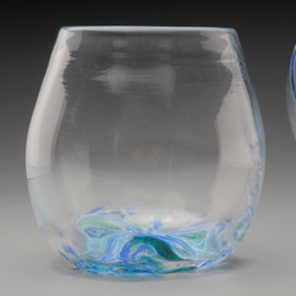 "Stemless ""not just for"" Wine Glasses. hand-sculpted and freeblown, no mold. Each approximately 3 X 3 inches. Offered in ""Summer Seas"" (blues, little white and green) and ""Fall Foliage"" (amber/orange/red blend). Please specify preference in Order Notes or contact me with any questions."