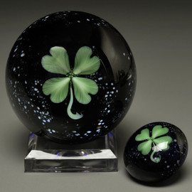 "Good Luck Paperweight, shown on ""Starry Nights"" background 