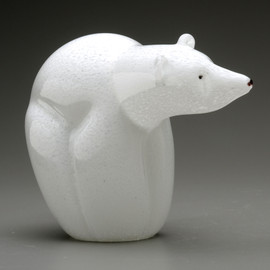 all Glass Polar Bear sculpture, handmade in Vermont.
