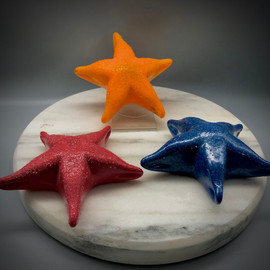 "Glass Starfish, Sea Creatures in glass, Red, Blue, and ""traditional"" orange Starfish color options, by VT glass artist Chris Sherwin!"