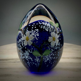 """Apple Almond Cherry Blossom """"hand warmer"""" glass egg paperweight, made in Vermont, front view"""