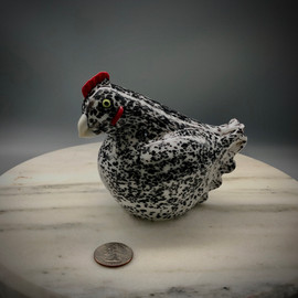Glass Chicken, Glass bird figurine, barred roc chicken, handmade in Vermont at Sherwin Art Glass glassblowing studio in Bellows Falls, Vermont by glass artisan Chris Sherwin