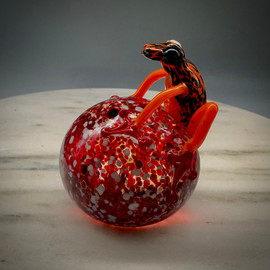 "Glass Frog, Costa Rica Frog, hand-sculpted glass frog paperweight, bright orange frog over Red Speckle background paperweight, 3"" made in Vermont at Sherwin Art Glass glassblowing studio in Bellows Falls Vermont."