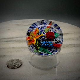 """small Lampworking prototype, featuring several small glass components on a white/blue/black muslin ground, first designed by glass artisan Chris Sherwin in a Master Class at Corning Museum of Glass with Loren Stump. Made in Vermont, 2"""""""
