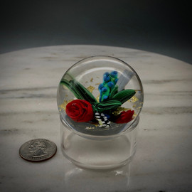 """small red rose Lampworking prototype, featuring several small glass components on clear with gold accents, by glass artisan Chris Sherwin, 2"""""""