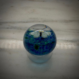 small millefiori butterfly glass paperweight, glass paperweight, one of a kind, by glass artisan Chris Sherwin, 2""