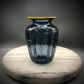 """Grayple"" optic vase.  small glass vase; perfect for small floral bouquets, with yellow lip wrap accent. approx 6"""