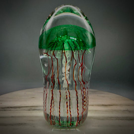 "Emerald Green transparent Bell Jellyfish sculpture, solid glass, glass paperweight, 6"" tall"