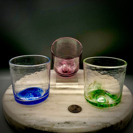 """Sherwin Art Glass  Crackle  """"not just for Whiskey"""" Whiskey glasses. 3"""" mostly straight sided, available in $ color Options: Summer Seas (Blue), Irish Spring (greens), Royal Ruby (Purple, ruby, cobalt mix), and Fall Foliage (orange, red, yellow, copper/amber mix)."""
