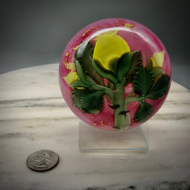 Yellow Rose Paperweight, glass paperweight, torchwork paperweight over pink ruby background by glass artist Chris Sherwin
