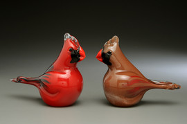 "Glass Birds, Glass Cardinals, Male/Female Adult Pair.  3"" tall x 4"" length each"