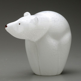 Glass Bear sculpture | smaller all glass version of the endangered Polar Bear
