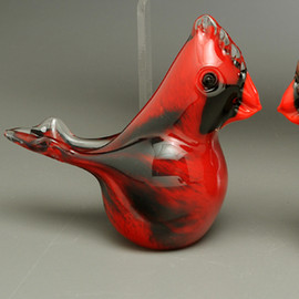 Red Glass Cardinal | Glass bird figurine, small version of the iconic Red Male cardinal, 2-3""