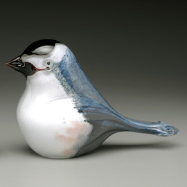 Glass Bird -- Chickadee, hand- sculpted glass made in Vermont