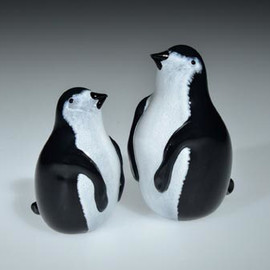 "Penguin, small Glass bird figurine, shown on left, 3"" tall"
