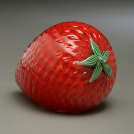 Glass Fruit Sculpture, glass strawberry paperweight, 2-3""